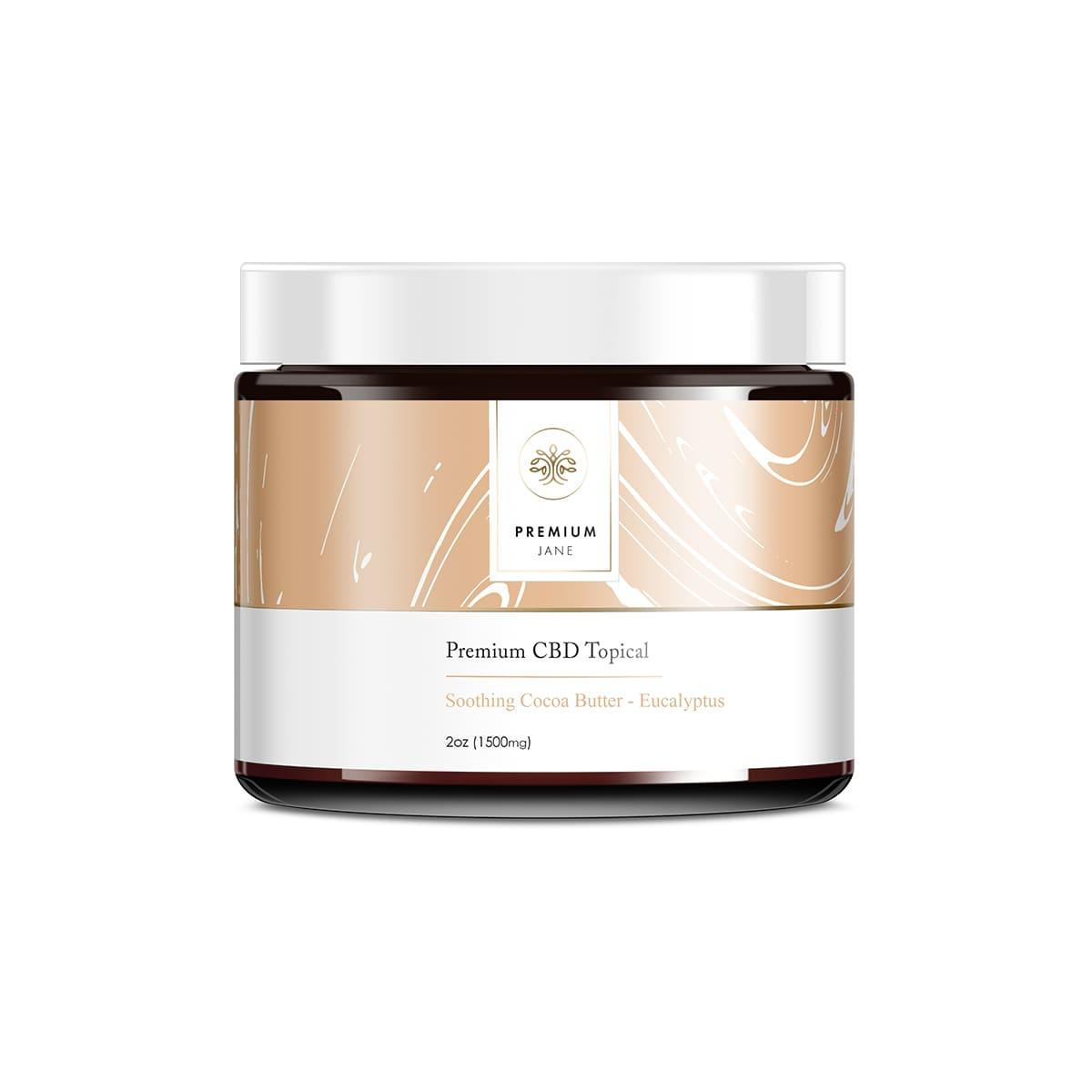 Premium Jane Cocoa Butter Topical CBD Ointment - 2oz (60ml) 1500mg CBD