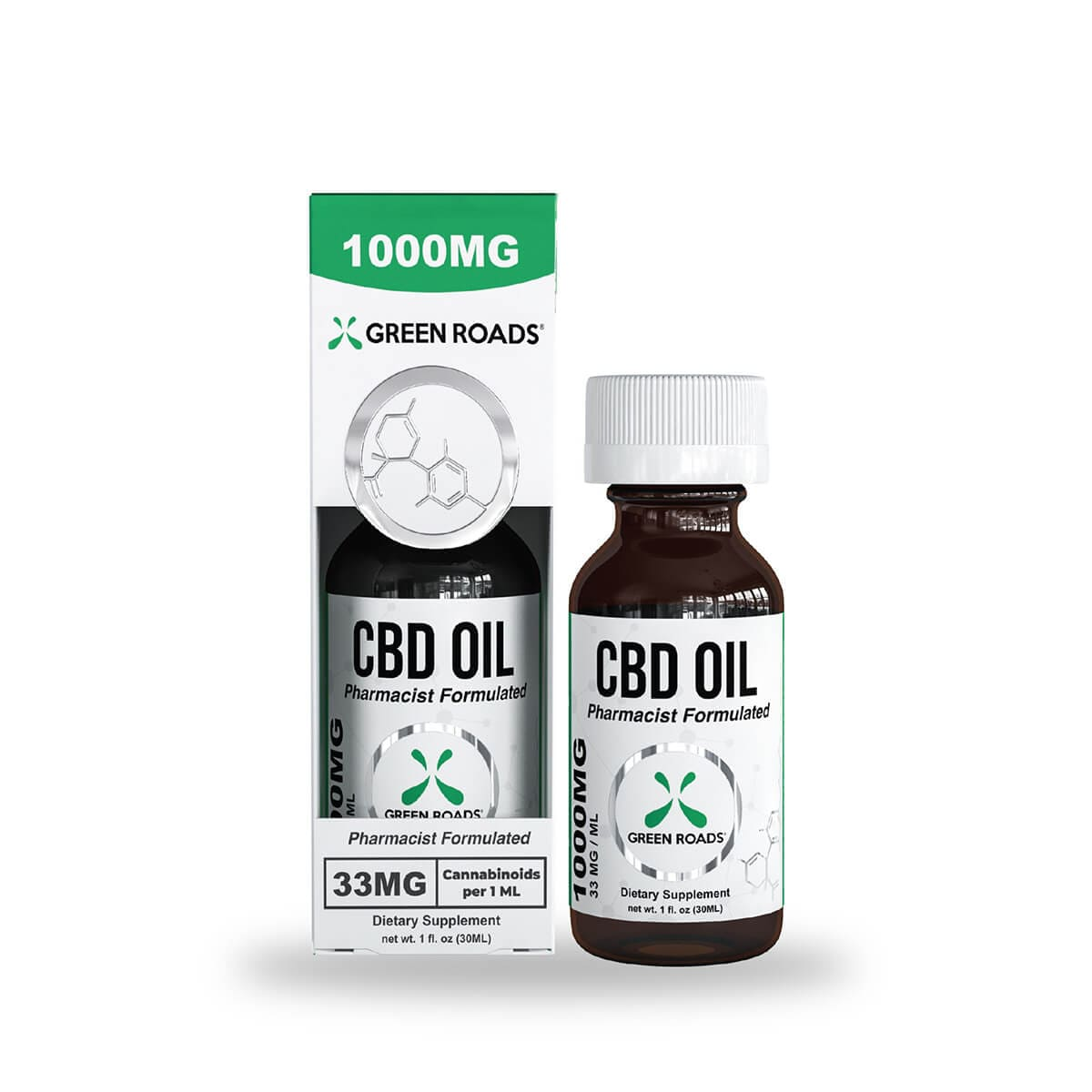 Green Roads CBD Oil - 1000mg (33mg CBD per serving) - 30ml