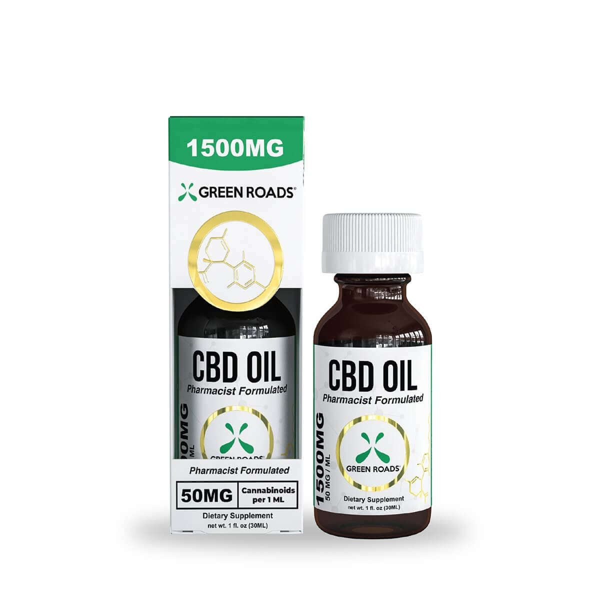 Green Roads CBD Oil - 1500mg (50mg CBD per serving) - 30ml