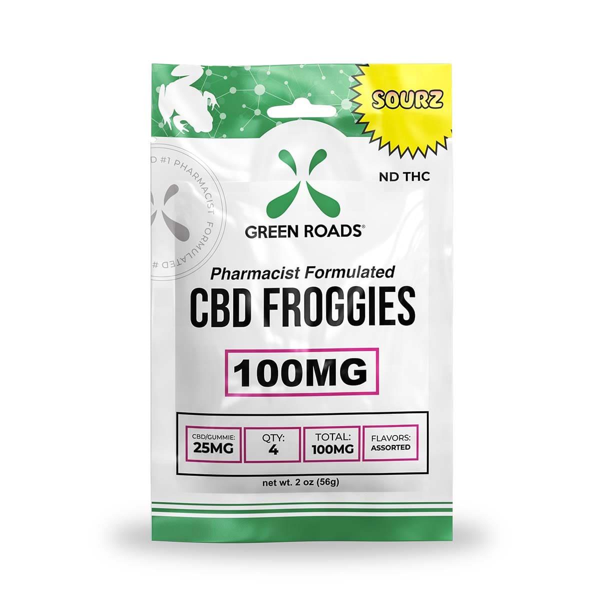 Green Roads Sourz CBD Froggies - 100mg (25mg CBD per froggie) - 2oz