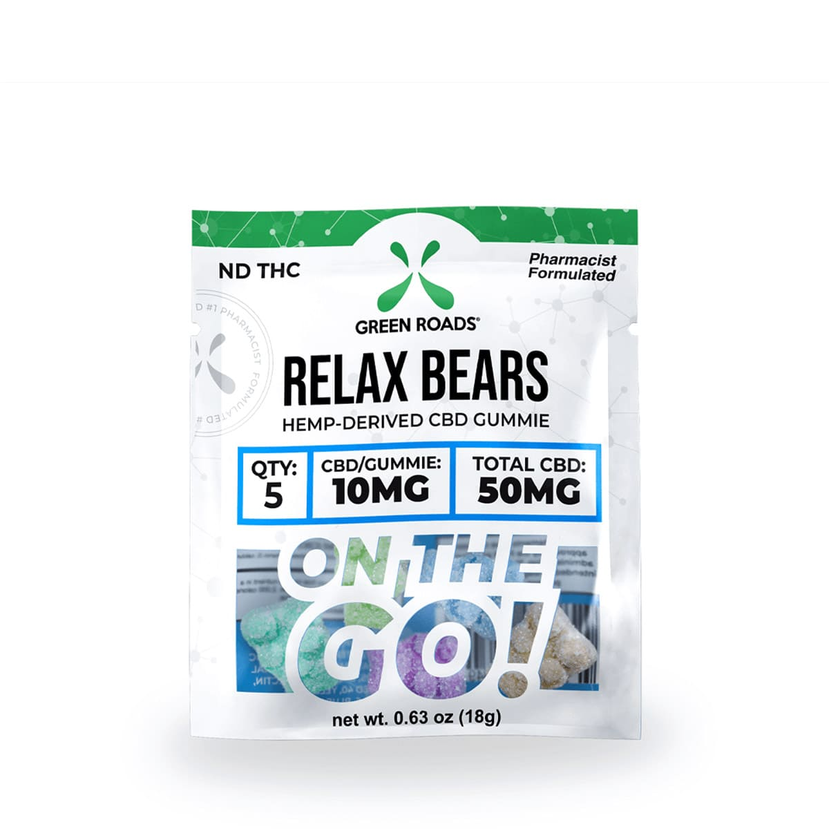 Green Roads CBD Relax Bears OTG - 50mg (10mg CBD per gummy) - 0,63oz
