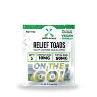 Green Roads CBD Relief Toads OTG – 50mg (10mg CBD Per Gummy) – 0.18oz