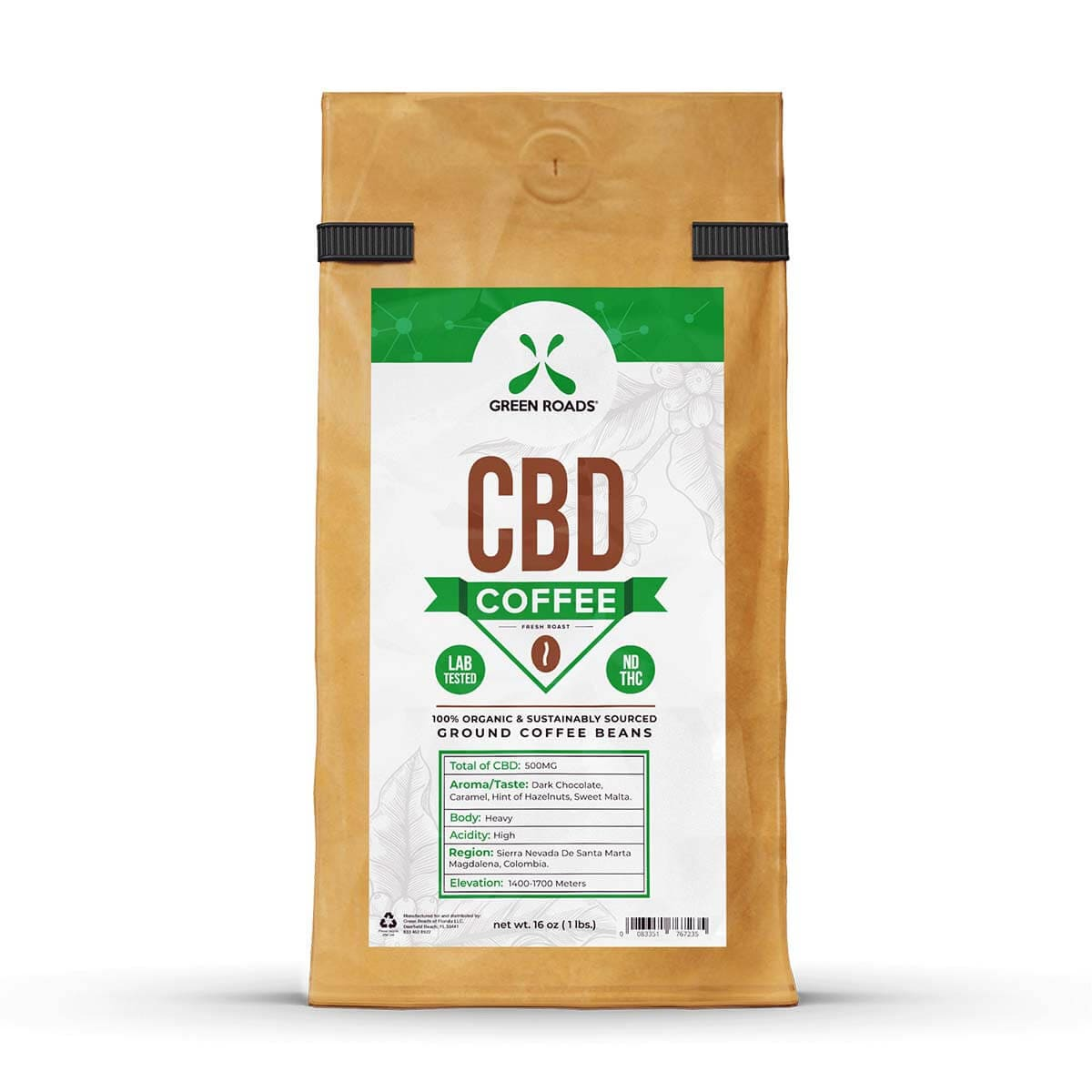 Green Roads CBD Infused Coffee - 500mg CBD (6.0-7.5 mg CBD per tbsp) - 16oz